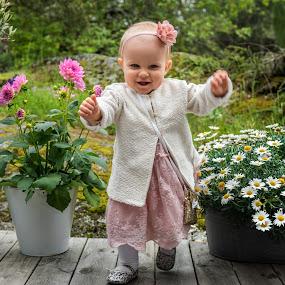 Julienne 1 year by Mats Andersson - Babies & Children Toddlers ( walking, happy, summer, children, flowers, garden )