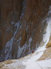 Photo: David at the end of the ice climbing on Supercanaleta, Fitz Roy