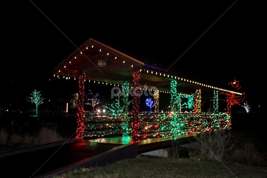 Decorated Bridge  by Tony Huffaker - Public Holidays Christmas ( city, display, bridge, christmas, lights, park )
