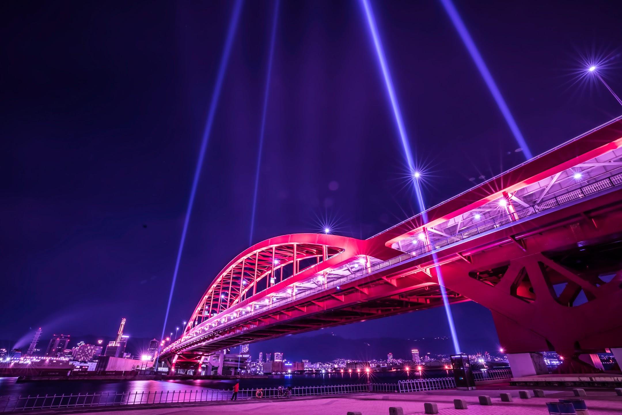 Kobe Great Bridge light-up night2