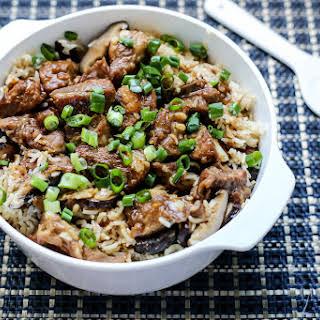 Mushrooms & Pork Ribs Claypot Rice.