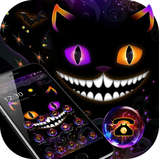 Neon Dark Night Cat Face Theme