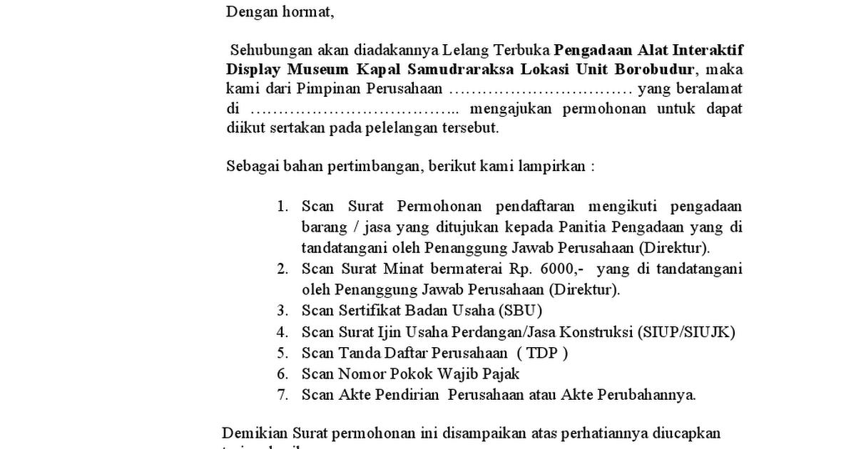Surat Permohonan Mengikuti Tender Dan Surat Pernyataan Minatdoc