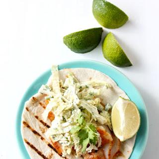 Fish Tacos With Jalapeno Slaw.