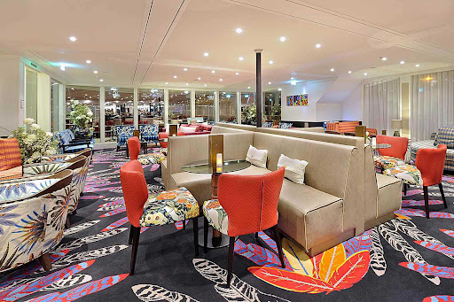 Enjoy the bright, airy Main Lounge during your AmaWaterways sailing.