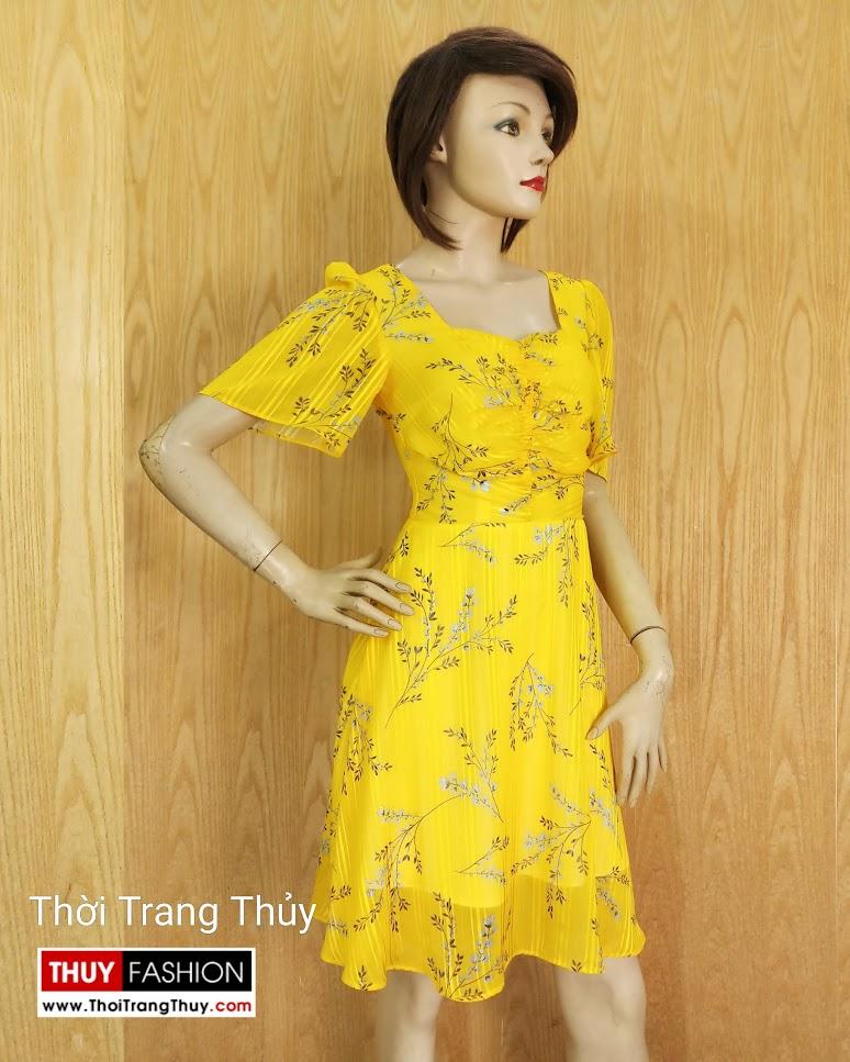 Váy xòe tay loe xếp nhún màu vàng V679 thời trang thủy hà nội