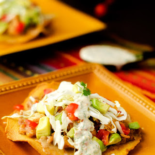 Chicken & Bean Tostadas with Chipotle Lime Sauce