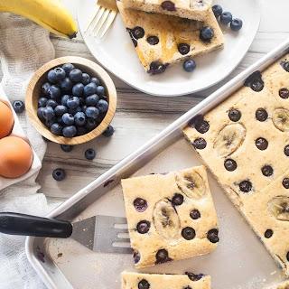 Whole Wheat Blueberry Banana Sheet Pan Pancakes.