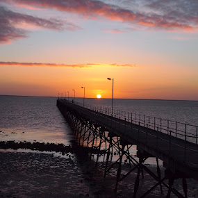 Sunset at Ceduna Jetty by Pamela Howard - Novices Only Landscapes ( water, sand, south australia, sky, sunset, sea, jetty, colours )