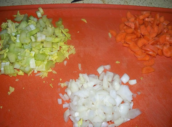 Chop the onions , carrots and celery , I like to use some of...