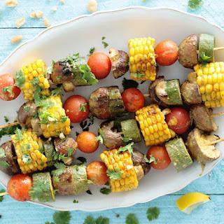 Vegan Peanut and Cilantro Grilled Veggie Skewers
