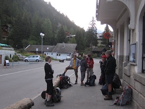 Photo: The next morning we're up early to catch the bus to Le Chable. By so doing, we cut out an 8 mile valley hike that pretty much parallels the road. Stuart leaves us today to go to Lauterbrunnen. We will meet up with him again in Zermatt.