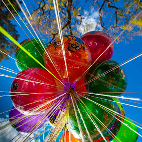 Baloons by Mike O'Connor - City,  Street & Park  Street Scenes ( colour, baloons, mexico, dolores hidalgo, vendors )