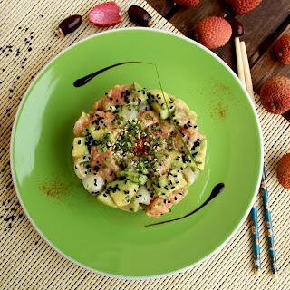 Salmon Avocado Salad with Lychee and Sesame Dressing.