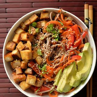 Slivered Veggie and Soba Salad with Maple Tofu.