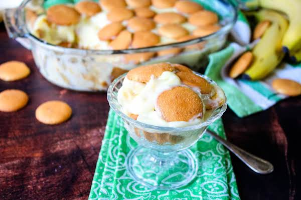 Southern Banana Pudding In A Serving Glass.