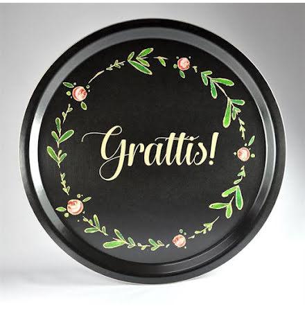 Bricka - Grattis, svart