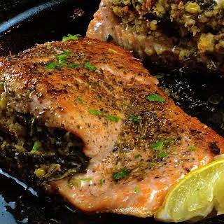 Kale & Cornbread Stuffed Salmon.