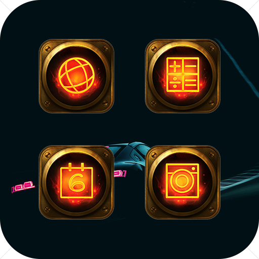 Golden Flame Metal Icon Pack For Yellow Fire