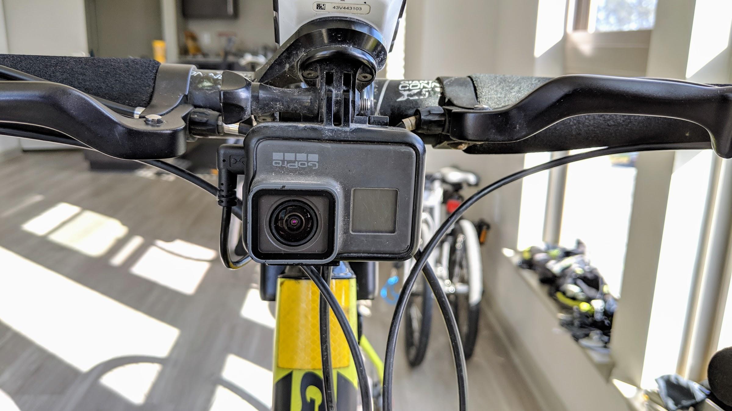 GoPro camera mounted on bicycle