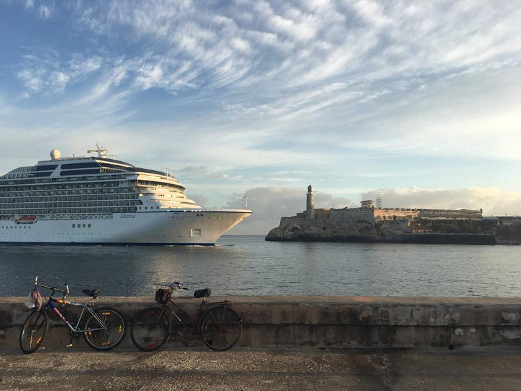 Oceania Cruises' 1,250-guest Marina sails past El Morro Castle into Havana Harbor.