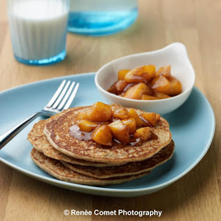 Enchanted Vanilla Pancakes with Chai-spiced Peach Compote.