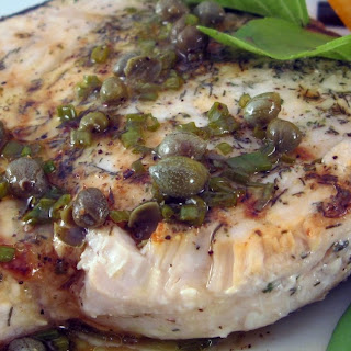 Swordfish with Grill-Roasted Lemon and Caper Dressing.