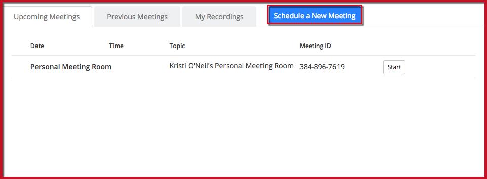 Screenshot highlighting the 'Schedule a New Meeting' button
