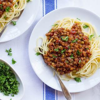 """Vegan Lentil Mushroom Bolognese Sauce – """"Faux""""-lognese."""