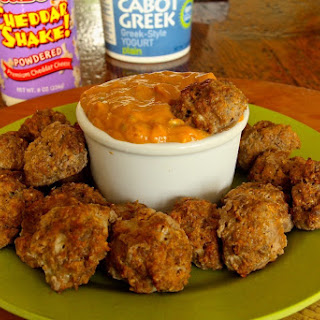Cheddar Shake Meatballs with Spicy Sweet & Sour Dipping Sauce
