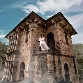 castle romance by Wee Heong - Wedding Bride & Groom ( love, elegant, wedding, beautiful, romantic, castle )