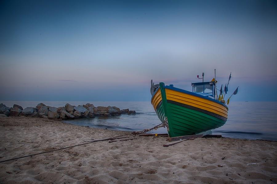 Evening in Gdynia by John Einar Sandvand - Transportation Boats