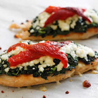 Grilled Chicken with Spinach and Melted Mozzarella.