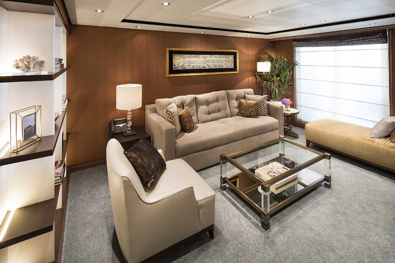 The spacious living room of a Pinnacle Suite on Holland America's Koningsdam.