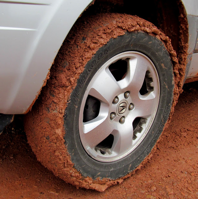 Tires loaded with mud