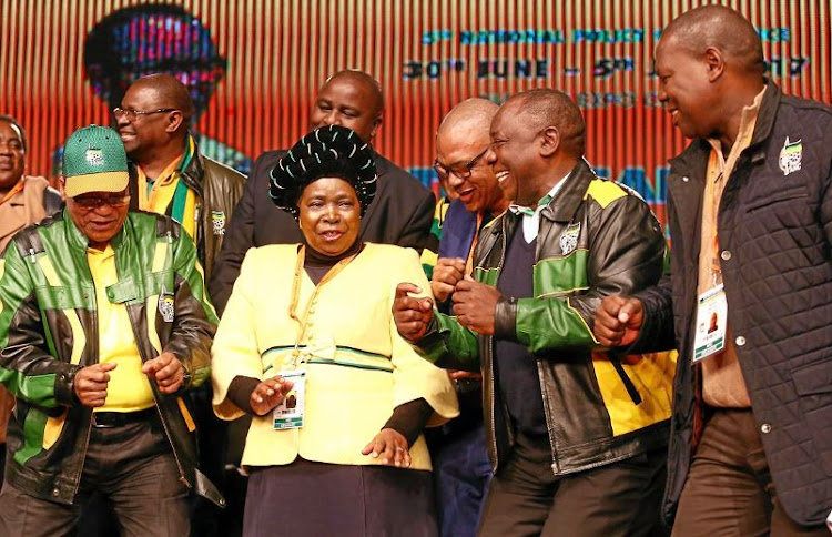 President Jacob Zuma, Nkosazana Dlamini-Zuma, Cyril Ramaphosa and Zweli Mkize at the end of the ANC National Policy Conference in July.