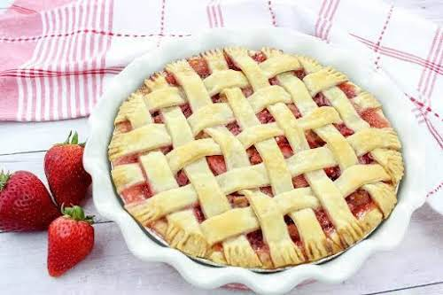 "Award-Winning Strawberry Rhubarb Pie""This strawberry rhubarb pie is perfection! The filling is..."