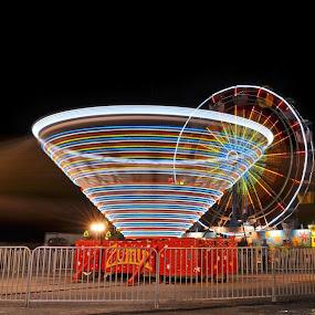 County Fair 1 by James Reil - City,  Street & Park  Amusement Parks ( monongalia, amuseument ride, west virginia, long exposure, county fair )