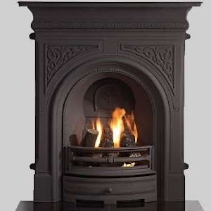 a greenock stove in black with a fire burning