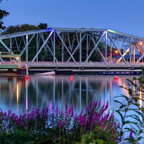 River Bridge by Dave Files - Buildings & Architecture Bridges & Suspended Structures ( reflection, lock 24, blue hour, twilight, lock, new york, canal, pwcbridges, baldwinsville, erie, seneca river, bridge, flowers, river )