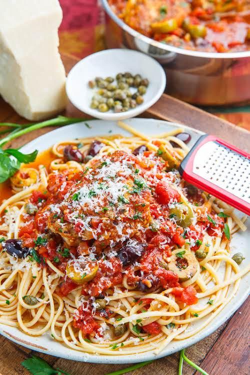 """Chicken Puttanesca""""Spaghetti alla puttanesca is a classic Italian pasta dish with a..."""