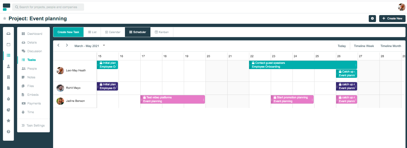 Project.co scheduler view