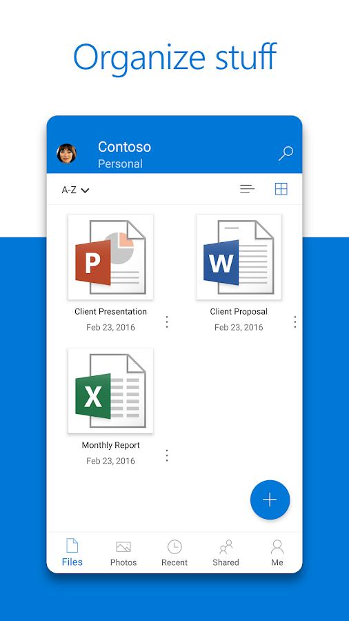 Screenshots of Microsoft OneDrive for iPhone