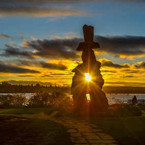 ISunset through the Inukshuk by Cory Bohnenkamp - Landscapes Sunsets & Sunrises ( clouds, sky, canada, inukshuk, sunset, beach, vancouver, city )