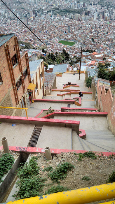 Dealing with the altitude on a steep street in La Paz while traveling in Bolivia.
