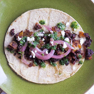 "Mushroom ""Chorizo"" and Potato Tacos"