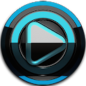 Poweramp skin Black Light blue icon