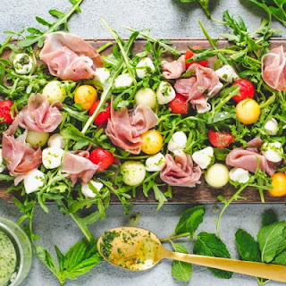 Melon Prosciutto Salad with Mint Basil Vinaigrette.