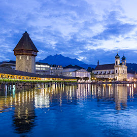 Lake Lucerne by Amit Aggarwal - City,  Street & Park  Night ( clouds, water, reflection, nigh view, blue, winding bridge, switzerland, lake, lucerne )