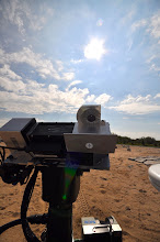 Photo: Pointing passive spectrometer at the sun.